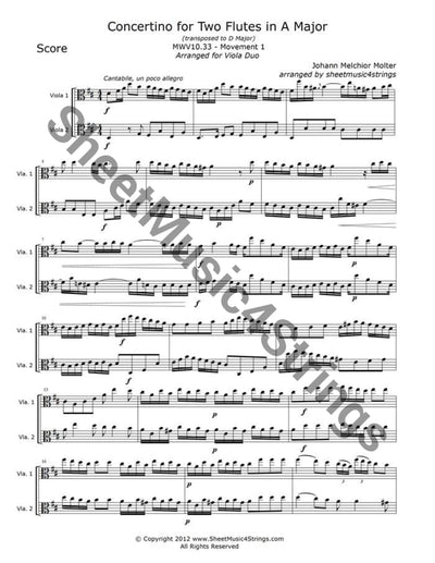 Molter J. - Concertino In A Major Mwv 10.33 Mvt. 1 (Viola Duo) Duos