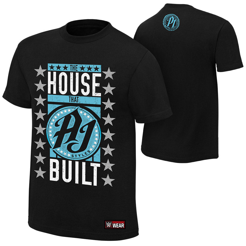 "WWE - AJ Styles ""The House that AJ Styles Built"" Black Authentic T-Shirt"