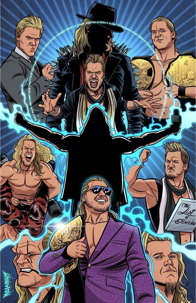 "Highspots - Chris Jericho ""30 Years Of Jericho"" Hand Signed 11x17 Artwork *inc COA*"