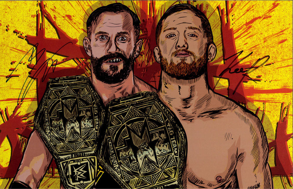 "Highspots - Kyle O'Reilly & Bobby Fish ""Champions Graphic"" Hand Signed 11x17 *inc COA*"
