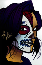 "Highspots – Thunder Rosa ""Facepaint"" Hand Signed 11x17 Cartoon *Inc COA*"
