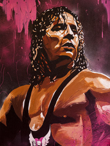 "Rob Schamberger - Bret ""The Hitman"" Hart Hand Signed 24"" x 18"" Poster *inc COA*"