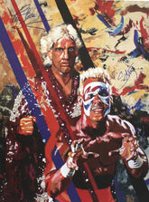 "Rob Schamberger - Ric Flair & Sting Hand Signed 24"" x 18"" Poster *inc COA*"
