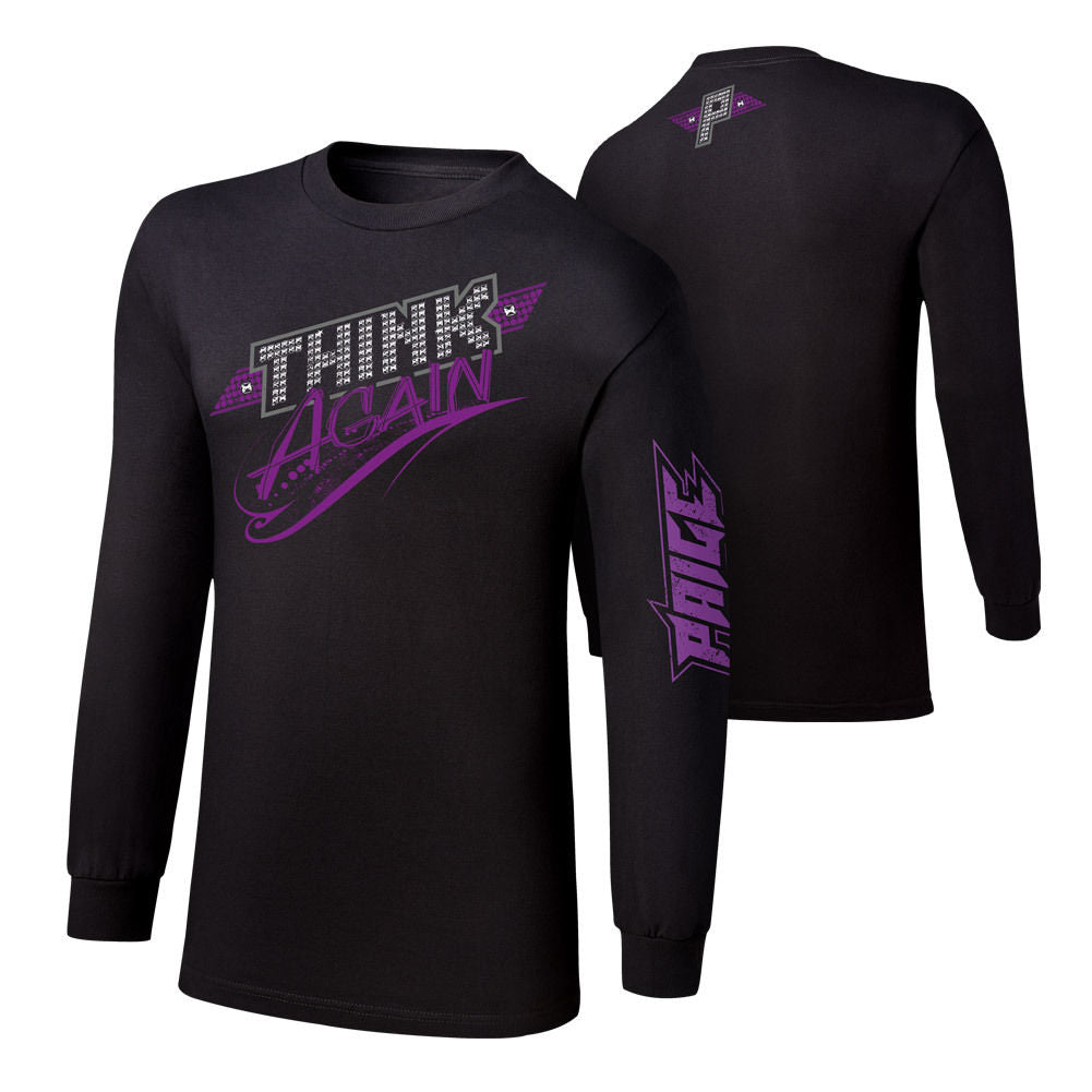 "WWE - Paige ""Think Again"" Long Sleeve Authentic Shirt"