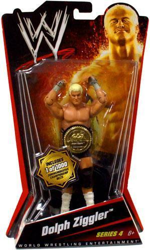 Mattel WWE Basic Series 4 Dolph Ziggler Figure 1 of 1000 with Commemorative Championship Belt