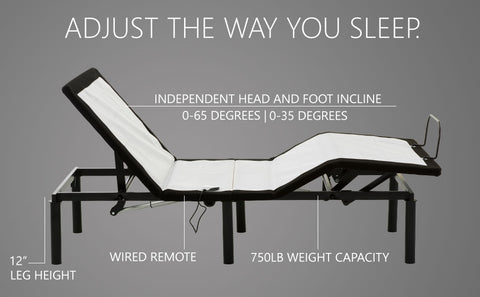 adjustable bed frame wired remote blissful nights