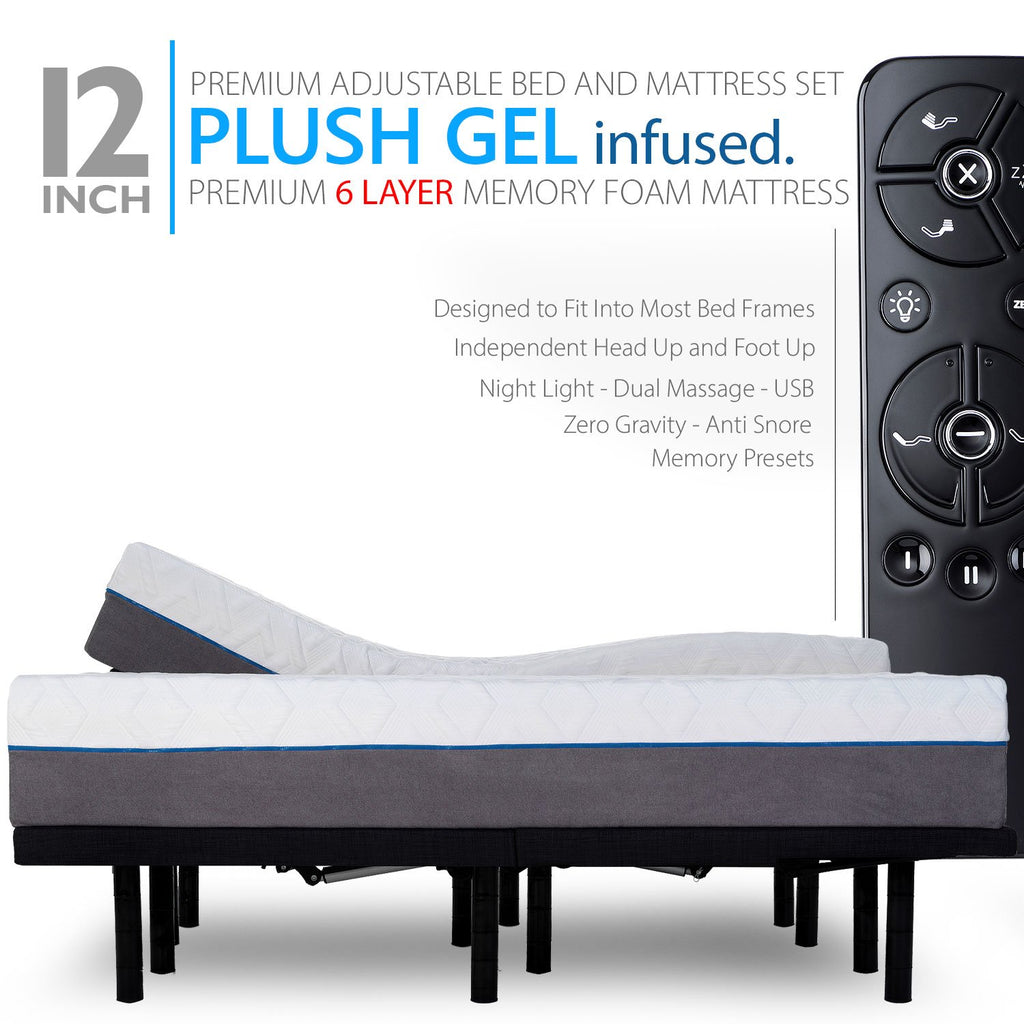 Premium Adjustable Bed Frame and 12 Inch Cool Gel Infused Memory Foam Mattress - zzZensleep