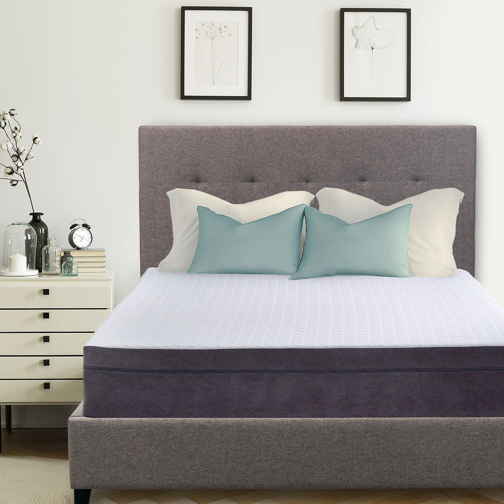 "Hudson Upholstered Platform Bed, 50"" Tall Headboard - Heather Gray - zzZensleep"