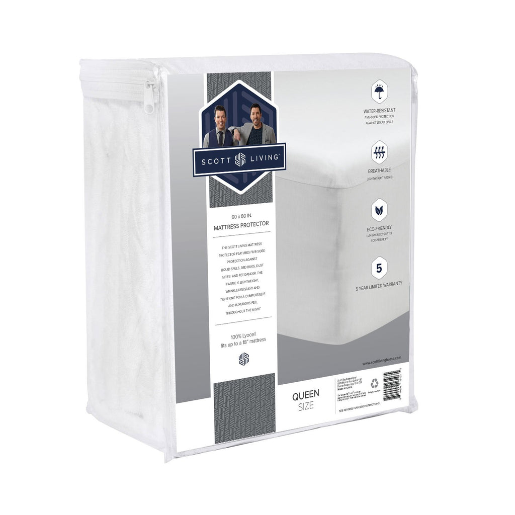 Scott Living Home - Premium 5-Sided Tencel Mattress Protector - 100% Waterproof and Hypoallergenic - zzZensleep