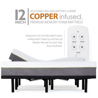 Adjustable Bed Frame and 12 Inch Copper Infused Cool Memory Foam Mattress - Medium Firm