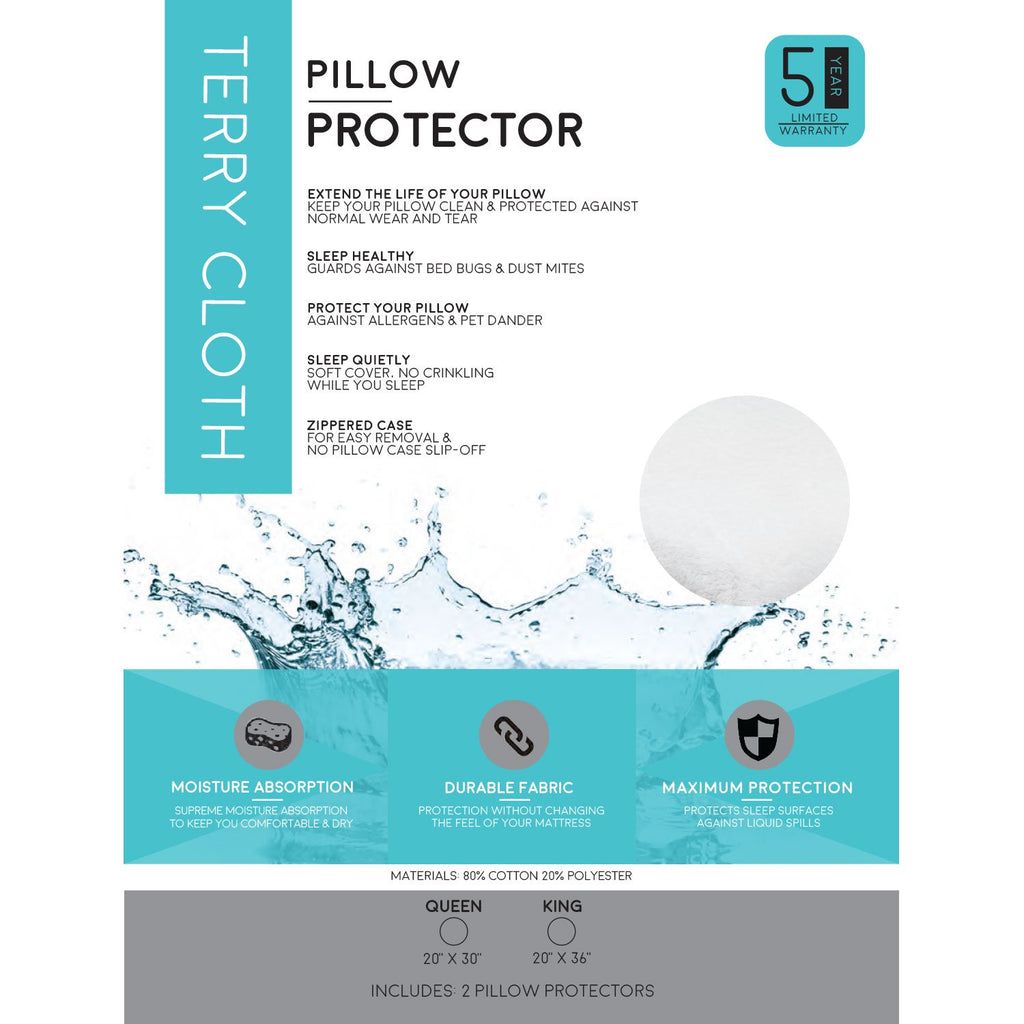 Soft Terry Cloth Pillow Protector - 100% Waterproof and Hypoallergenic Zipper Washable Cover - zzZensleep
