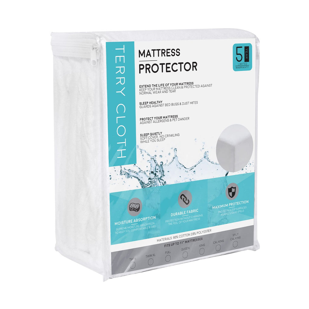 Fitted Cotton Terry Mattress Protector - 100% Waterproof and Hypoallergenic - zzZensleep