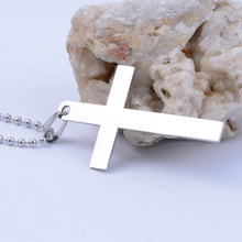 Men Jewelry steel titanium Silver Color Smooth Cross Necklaces Pendants 50 cm chain