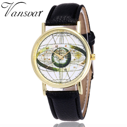 Fashion Solar System Watch Unisex Casual Space Astronomy Wrist Watches World Map Quarz