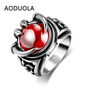 Stainless Steel Wolf Claw Ring With Red Retro Antique Black Ring