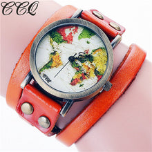 Fashion Vintage Genuine Leather World Map Watch Quartz Watch