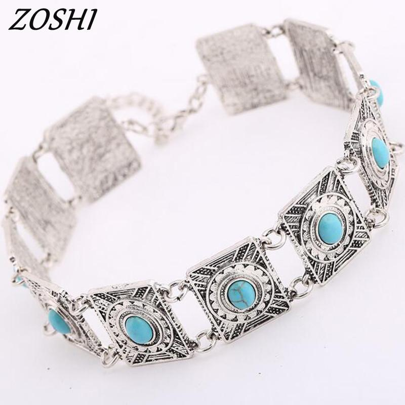 Tibetan Silver Choker Necklace Ethnic Jewelry Vintage Blue Natural Stone