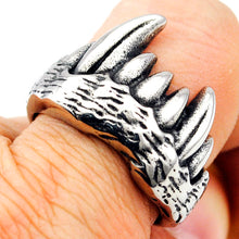 GOKADIMA Cool Tribe Orcs Wolf Tooth Rings Stainless Steel Biker Style