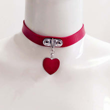 Fashion Leather Alloy Heart Pendant Necklaces Chain Choker