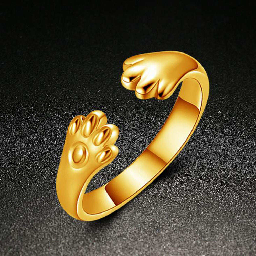 Cute Women Cat Paw Open Ring Silver Plated