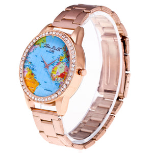 Fashion Luxury World Map Quartz Stainless Steel Mesh Belt Wrist Watch