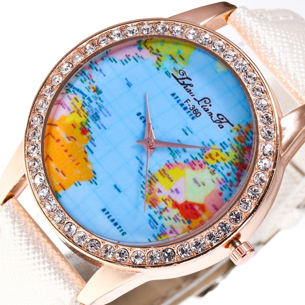 Women World Map Quartz Leather Analog Wrist  Watch Round Case Watch