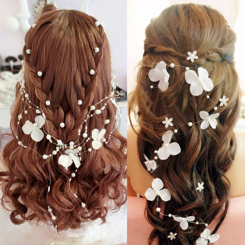 White Flower Pearl Bead Headpiece Hair Accessory