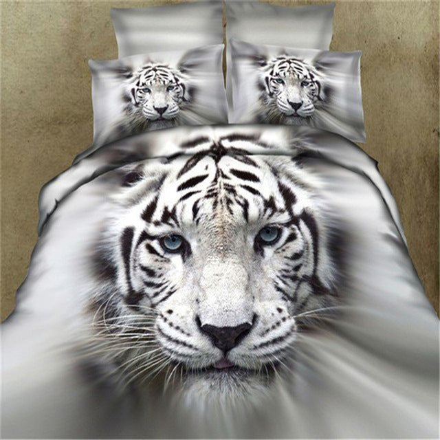 3D animal leopard rose tiger wolf lion  4pcs bedding set