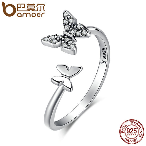 925 Sterling Silver Dazzling CZ Butterfly Open Finger Ring  Sterling Silver