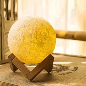 USB Rechargeable 3-D Moon Lamp With Base  Vibration Sensing