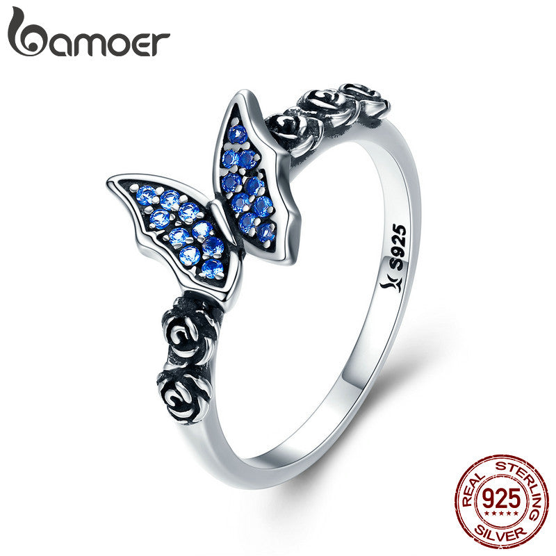 Spring Collection 925 Sterling Silver Butterfly & Blue  Flower CZ