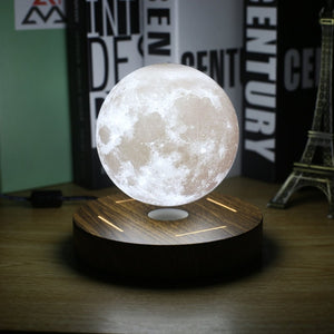 Magnetic Levitating 3-D Moon Lamp 360 Rotated Wooden Base