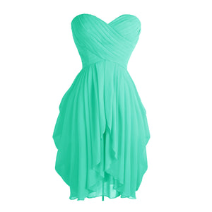 Women Sweetheart Ruched Strapless Chiffon Elegant Dress