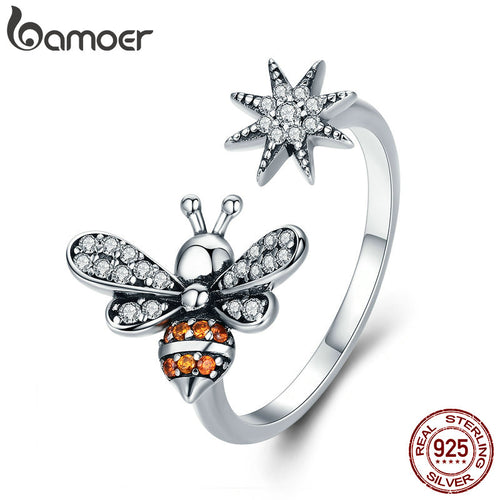 100% 925 Sterling Silver Bee with Snowflake Clear CZ Open Size Ring