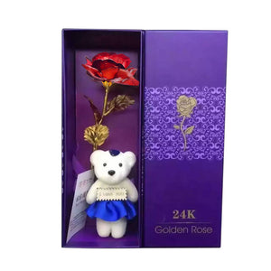 24k Gold Foil Plated Rose  Lasts Forever Rose with LOVE Base  with Retailed Box