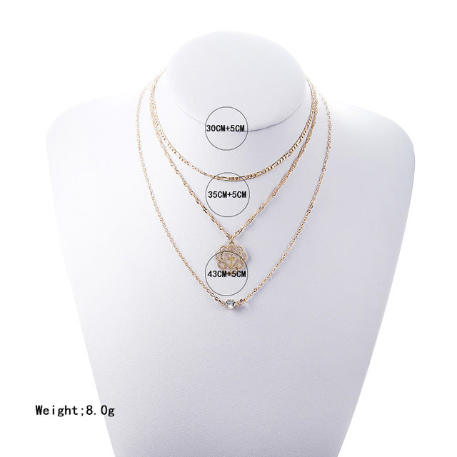 Simple Gold lovely Heart Layered Crystal Chain Necklace