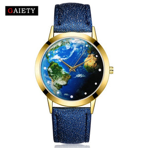 Sport Leather Women Fashion Gold Dress Quartz Wristwatch  World Map