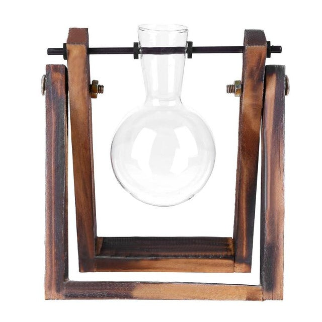 Vintage Creative Glass Vase Tabletop Transparent With Wooden Tray