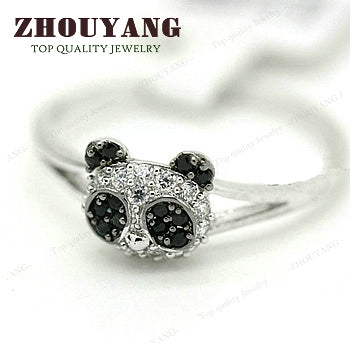 Silvery Panda Of The Head Crystal Ring Silver Color e Austrian Crystals