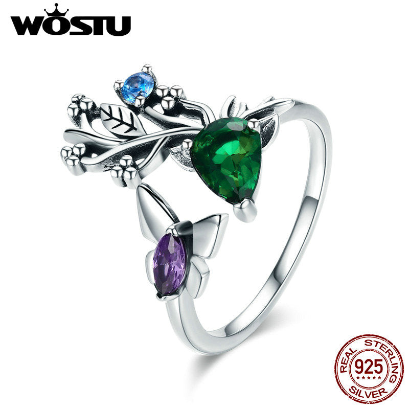 Fashion 925 Sterling Silver Elk Legend & Butterfly CZ Adjustable Open Ring
