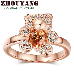 Top Quality Bear Ring Rose Gold Color Ring Health Jewelry  Rhinestone Austrian Crystal