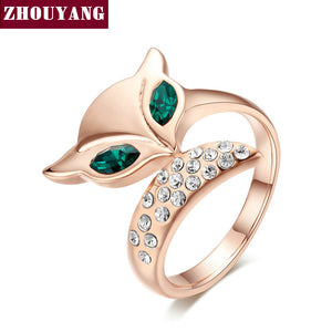 Fox Crystal Ring Rose Gold Color Austrian Crystals