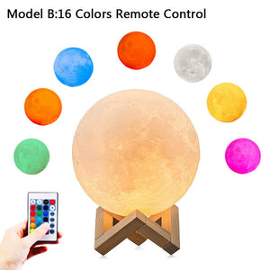 Rechargeable 3-D Printed Moon Lamp USB LED  With Switch