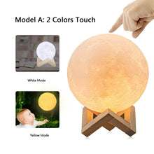 USB Rechargeable 3-D Moon Lamp Led Two Color Change Touch 16 Colors  3-D Night Lights