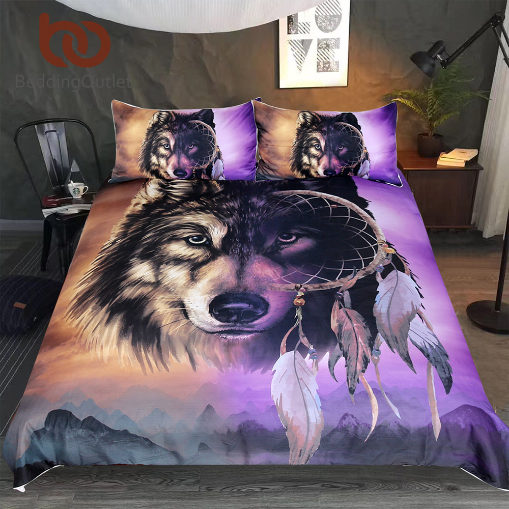 NEW!   Wolf Bedding Set With Dreamcatcher Cover 3D Mountains Scenery Home Textiles Purple Brown 3-Piece