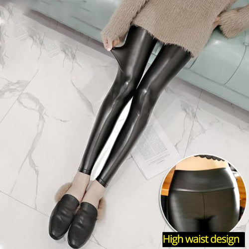 Leather Leggings Women High Waist
