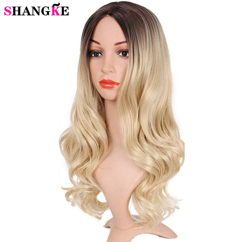 Long Ombre Brown Ash Blonde High Density Temperature Synthetic Wig for Women Glueless Wavy Cosplay Hair Wig SHANGKE
