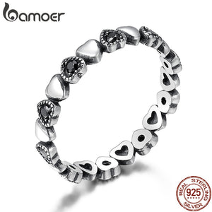BAMOER Genuine 925 Sterling Silver Stack able Ring Heart Black CZ Finger Rings for Women