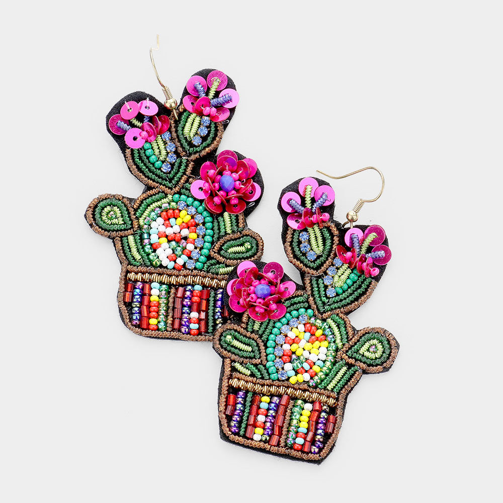 SEED BEADED CACTUS FLOWER DANGLE EARRINGS