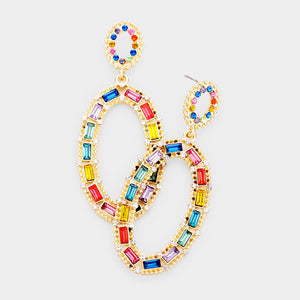 COLORFUL STONE OPEN EARRINGS